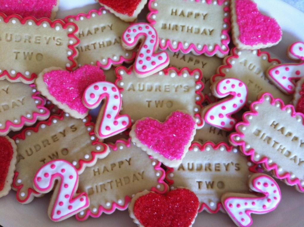 number 2 birthday cookies